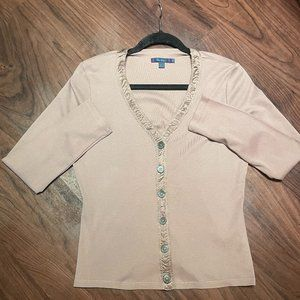 BODEN Rose Taupe Silk Trim Button-Down Top